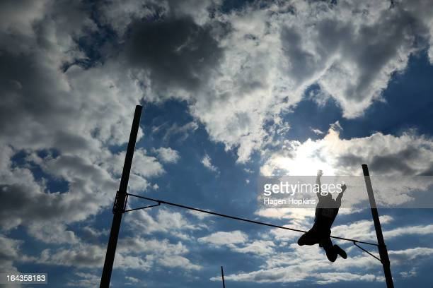 Stephen Buckley of Auckland competes in the men's senior pole vault during the New Zealand Track and Field Championships at Mt Smart Stadium on March...