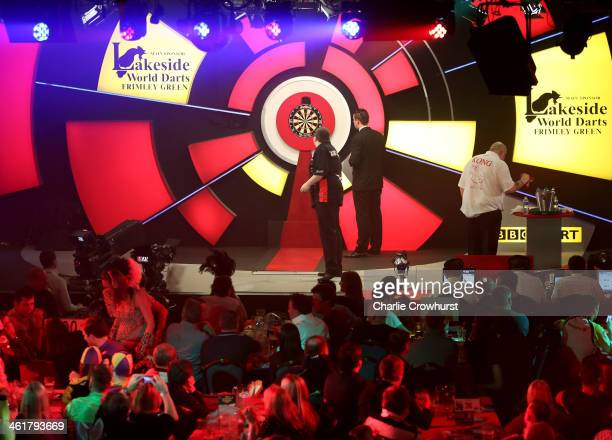 Stephen Bunting of England in action during his semifinal match against Robbie Green of England during the BDO Lakeside World Professional Darts...