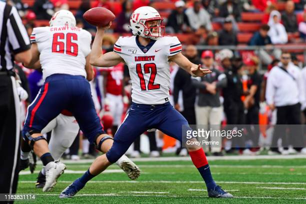 Stephen Calvert of the Liberty Flames looks to pass during the fourth quarter at SHI Stadium on October 26 2019 in Piscataway New Jersey Rutgers...