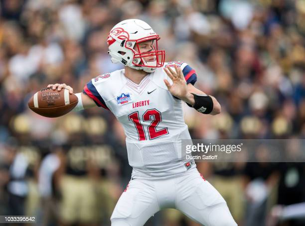 Stephen Calvert of the Liberty Flames throws the ball during the game against the Army Black Knights at Michie Stadium on September 8 2018 in West...