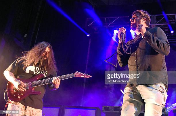 Stephen Carpenter and Chino Moreno of Deftones perform during Riot Fest at National Western Complex on September 2 2016 in Denver Colorado