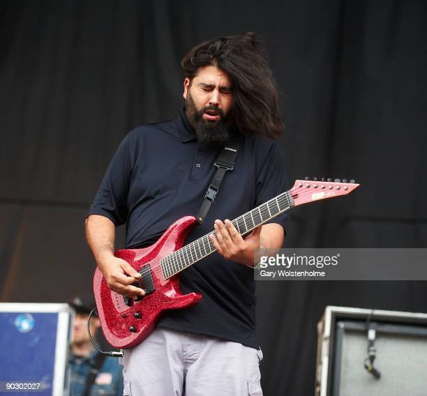 Stephen Carpenter of Deftones performs on stage on the last day of Leeds Festival at Bramham Park on August 30 2009 in Leeds England