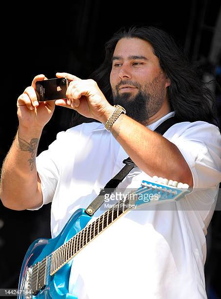 Stephen Carpenter of Deftones takes a picture from on stage at the Melbourne Big Day out at Flemington racetrack on Sunday 30th January 2011 in...