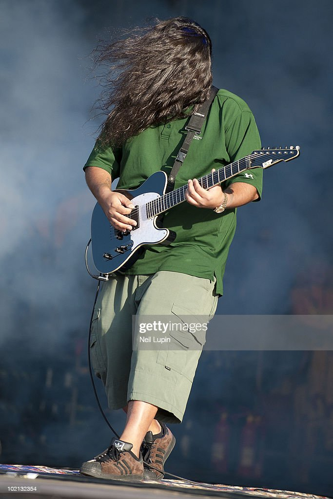 Stephen Carpenter of the Deftones performs on stage on the second day of the Download Festival at Donington Park on June 12, 2010 in Castle Donington, England.
