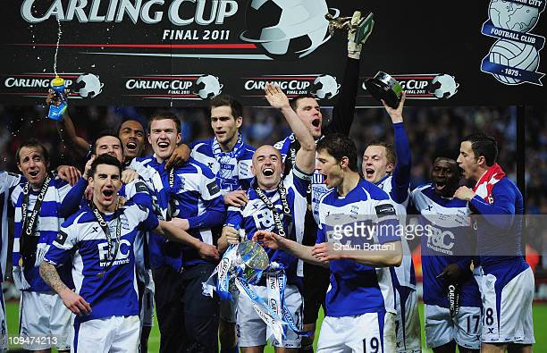 Stephen Carr of Birmingham City celebrates with team mates after the Carling Cup Final between Arsenal and Birmingham City at Wembley Stadium on...