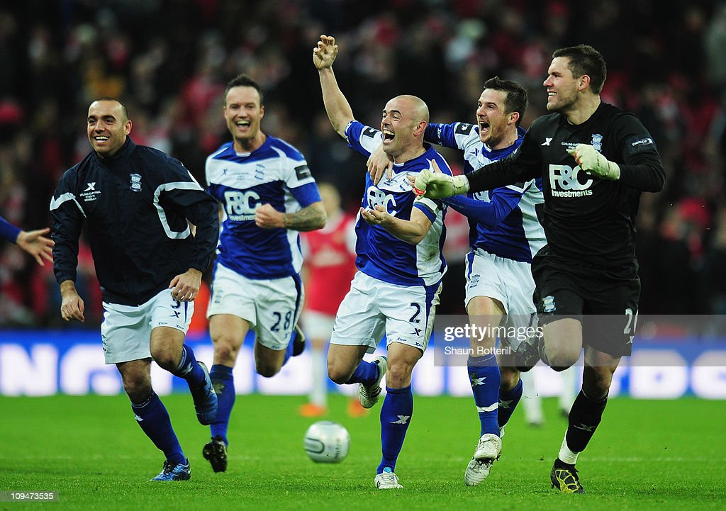Stephen Carr (C) of Birmingham City leads the celebrations with team mates after the Carling Cup Final between Arsenal and Birmingham City at Wembley Stadium on February 27, 2011 in London, England.