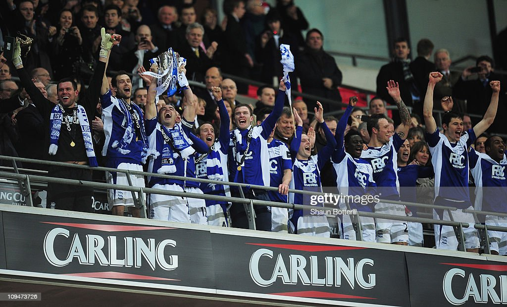 Stephen Carr of Birmingham City lifts the trophy after victory during the Carling Cup Final between Arsenal and Birmingham City at Wembley Stadium on February 27, 2011 in London, England.