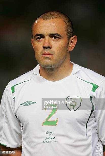 Stephen Carr of Republic of Ireland lines up for the National Anthem before the World Cup qualifying group 4 match between Cyprus and Republic of...