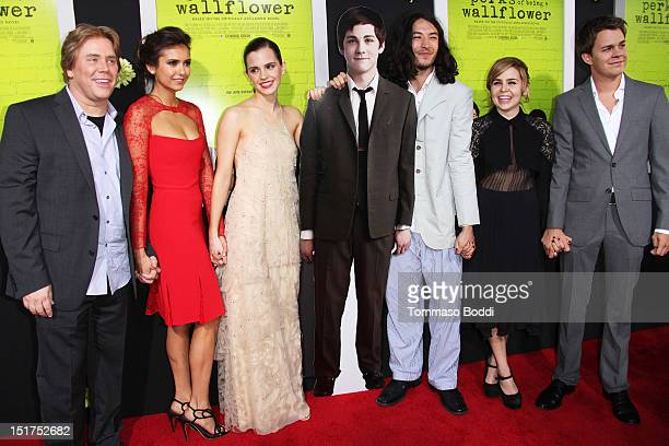 Stephen Chbosky Nina Dobrev Emma Watson Ezra Miller Mae Whitman and Johnny Simmons attend The Perks Of Being A Wallflower Los Angeles premiere held...