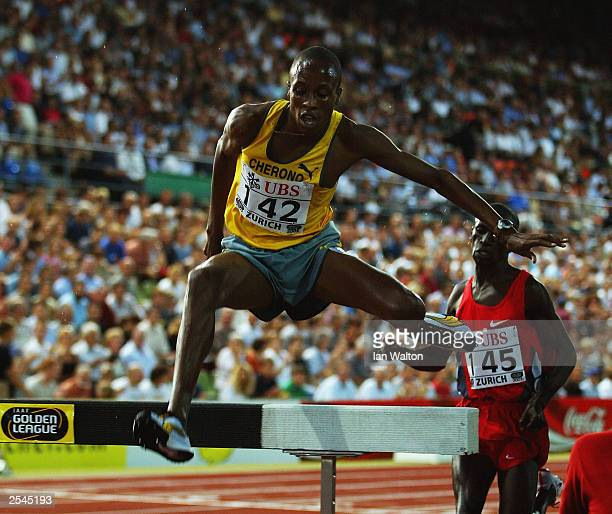 Stephen Cherono of Kenya clears a barrier in the 3000 metres Steeplechase during the IAAF Golden League Zurich Weltklasse held on August 15, 2003 at...