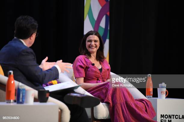 Stephen Colbert and Actress Rachel Weisz speak at the Montclair Film Festival on April 28 2018 in Montclair NJ