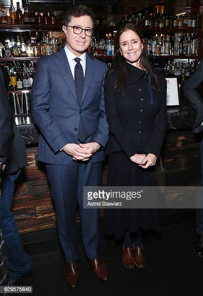 Stephen Colbert and director Julie Taymor attend a cocktail party in celebration of 'Life Animated' at Megu New York on December 13 2016 in New York...