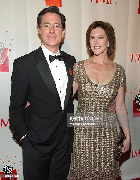 Stephen Colbert and Evie McGee Colbert during Time Magazine's 100 Most Influential People 2006 Inside Arrivals at Jazz at Lincoln Center in New York...