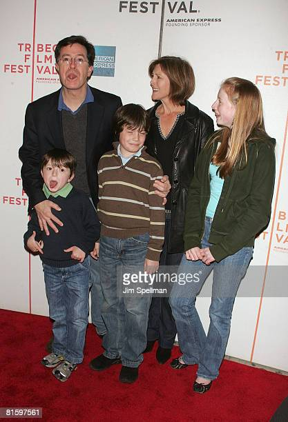 Stephen Colbert and family arrives at the 7th Annual Tribeca Film Festival Speed Racer premiere at BMCC/TPAC on May 3 2008 in New York City