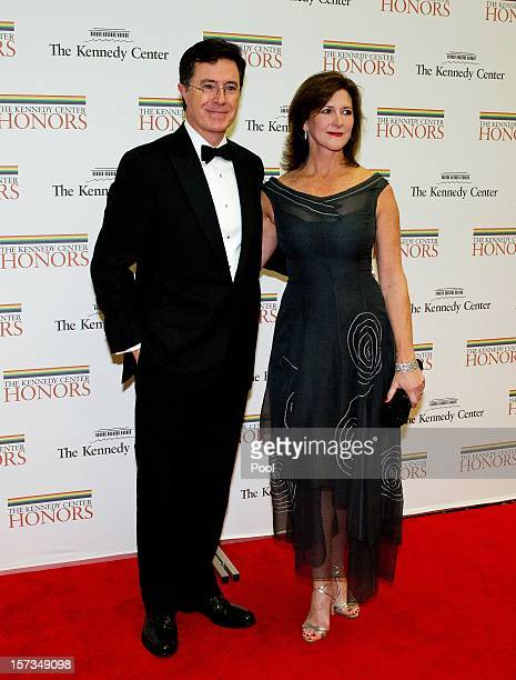 Stephen Colbert and his wife Evelyn arrive for a dinner for Kennedy honorees hosted by US Secretary of State Hillary Rodham Clinton at the US...