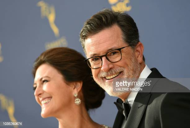 Stephen Colbert and his wife Evelyn McGee-Colbert arrive for the 70th Emmy Awards at the Microsoft Theatre in Los Angeles, California on September...