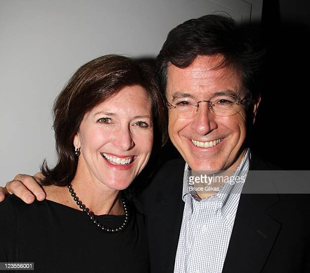 Stephen Colbert and his wife Evelyn McGeeColbert attend the New York Philharmonic Celebration for Stephen Sondheim's AllStar Company at Graffit...