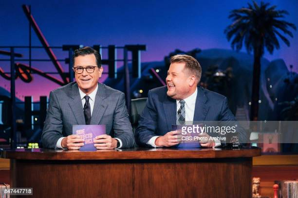 Stephen Colbert and James Corden perform Side Effects May Include during 'The Late Late Show with James Corden' Thursday September 14 2017 On The CBS...