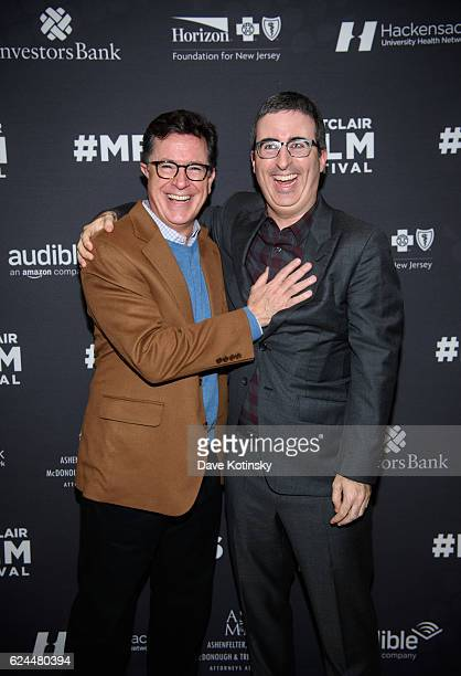 Stephen Colbert and John Oliver arrive at the PostElection Evening to Benefit Montclair Film Festival at NJ Performing Arts Center on November 19...