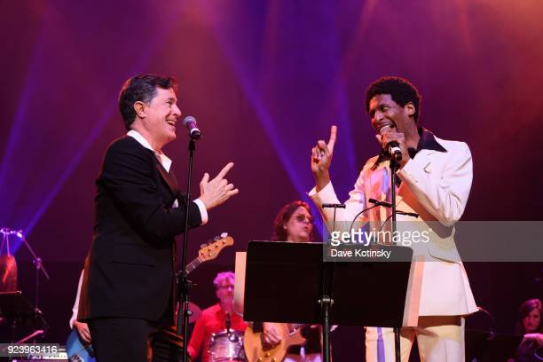 Stephen Colbert and Jon Batiste perform at the Montclair Film 70s Mixtape Party with the Losers Lounge at The Wellmont Theatre on February 24 2018 in...