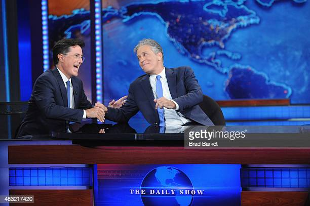 Stephen Colbert and Jon Stewart appear on 'The Daily Show with Jon Stewart' #JonVoyage on August 6 2015 in New York City