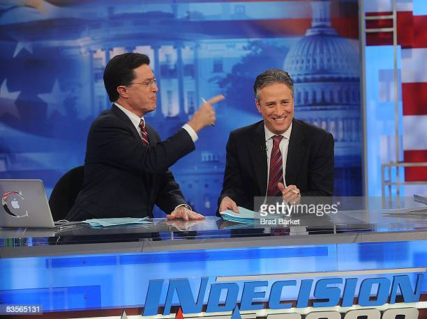 Stephen Colbert and Jon Stewart host Comedy Central's Indecision 2008 America's Choice at Comedy Central Studios on November 4 2008 in New York City