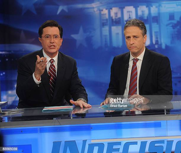 Stephen Colbert and Jon Stewart hostComedy Central's 'Indecision 2008 America's Choice' at Comedy Central Studios on November 4 2008 in New York City