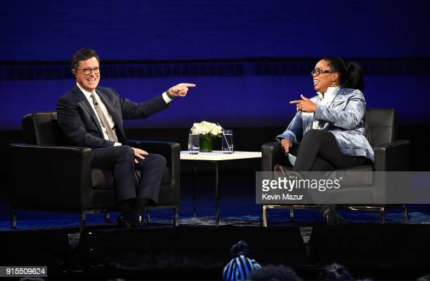 Stephen Colbert and Oprah speak onstage during 'Oprah's Super Soul Conversations' at The Apollo Theater on February 7 2018 in New York City