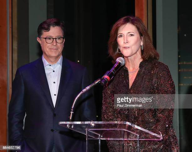 Stephen Colbert and President of the Board Montclair Film Festival Evelyn Colbert speak onstage at Sad A Happy Evening with Stephen Colbert Samantha...