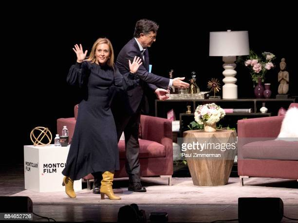 Stephen Colbert and Samantha Bee speak onstage at Sad A Happy Evening with Stephen Colbert Samantha Bee for Montclair Film at NJPAC on December 2...