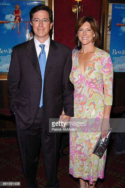Stephen Colbert and Wife attend The World Premiere of BEWITCHED at Ziegfeld Theatre on June 13 2005 in New York City