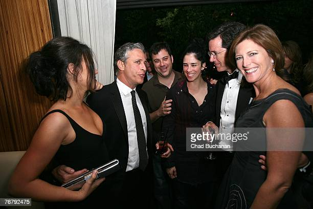 Stephen Colbert and wife Evelyn Mcgee talk with Jon Stewart his wife Tracey Stewart and Jimmy Kimmel and Sarah Silverman at Comedy Central's 2007...