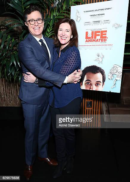 """Stephen Colbert and wife Evelyn McGee-Colbert attend a cocktail party in celebration of """"Life, Animated"""" at Megu New York on December 13, 2016 in New..."""