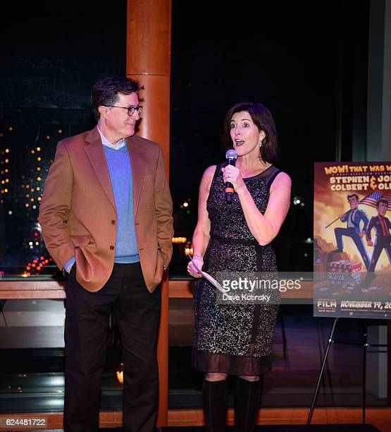 Stephen Colbert and wife Evelyn McGeeColbert speak at the PostElection Evening to Benefit Montclair Film Festival at NJ Performing Arts Center on...