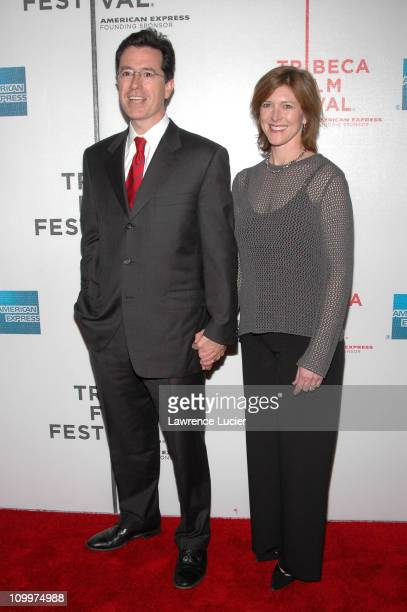 Stephen Colbert and wife Evie Colbert during 4th Annual Tribeca Film Festival The Great New Wonderful Premiere at Stuyvesant High School in New York...