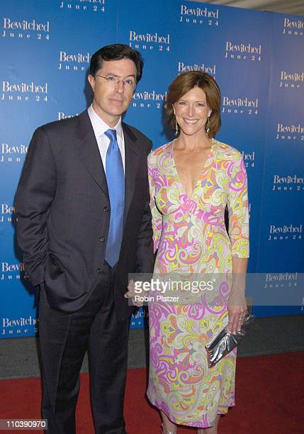 Stephen Colbert and Wife Evie during Bewitched New York Premiere Outside Arrivals at The Ziegfeld Theatre in New York New York United States
