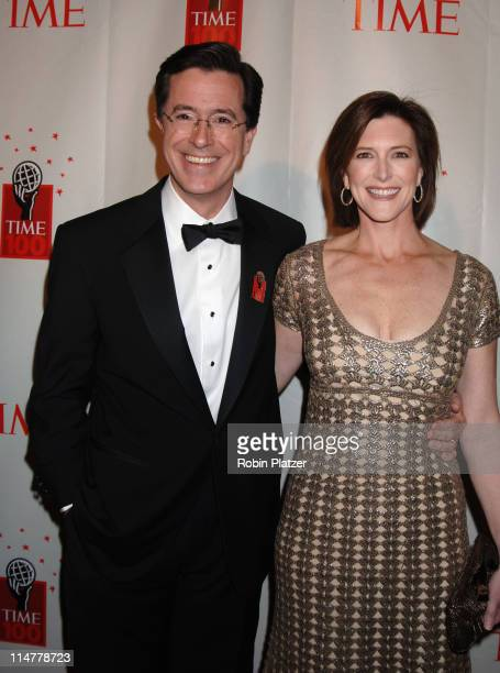 Stephen Colbert and wife Evie during Time Magazine's 100 Most Influential People 2006 Inside Arrivals at Jazz at Lincoln Center in New York City New...