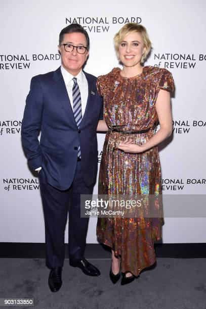 Stephen Colbert and Winner of the Best Director Award Greta Gerwig pose during the National Board of Review Annual Awards Gala at Cipriani 42nd...