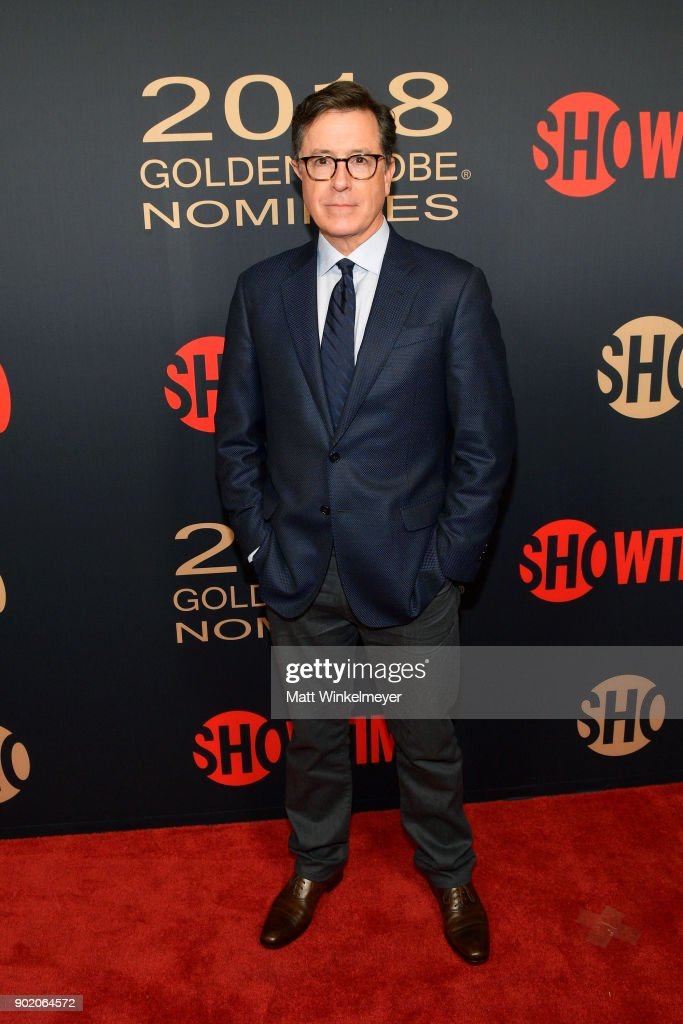Stephen Colbert arrives for the Showtime Golden Globe Nominees Celebration at Sunset Tower on January 6, 2018 in Los Angeles, California.