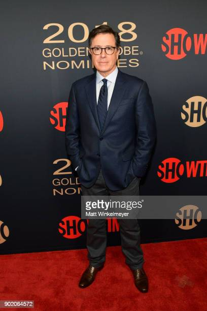 Stephen Colbert arrives for the Showtime Golden Globe Nominees Celebration at Sunset Tower on January 6 2018 in Los Angeles California