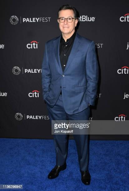 Stephen Colbert attends The Paley Center For Media's 2019 PaleyFest LA An Evening With Stephen Colbert at Dolby Theatre on March 16 2019 in Hollywood...