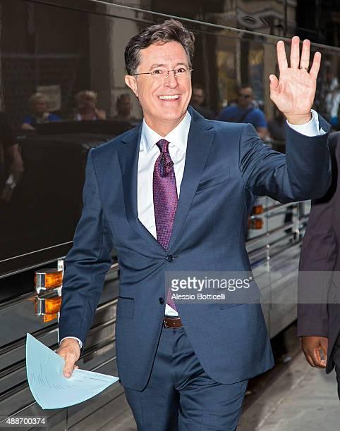 Stephen Colbert is seen outside Ed Sullivan Theater on September 16 2015 in New York City