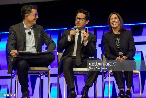 Stephen Colbert, J.J. Abrams and Kathleen Kennedy during the Star Wars Celebration at the Wintrust Arena on April 12, 2019 in Chicago, Illinois.