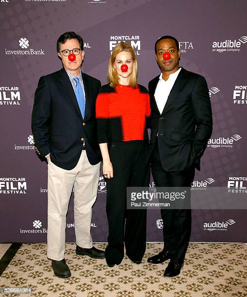 Stephen Colbert Laura Linney and Chiwetel Ejiofor attend the Montclair Film Festival 2016 Richard Curtis Conversation And Filmmaker Tribute at...