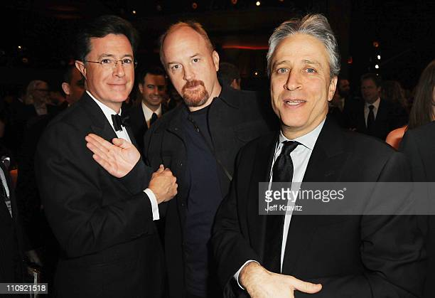 Stephen Colbert, Louis C.K. And Jon Stewart pose at the First Annual Comedy Awards at Hammerstein Ballroom on March 26, 2011 in New York City.