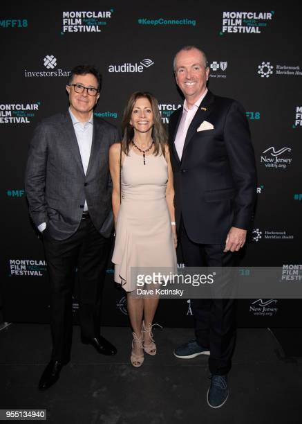Stephen Colbert, New jersey Governor Phil Murphy and his wife First Lady Tammy Murphy attend the Montclair Film Festival on May 5, 2018 in Montclair,...