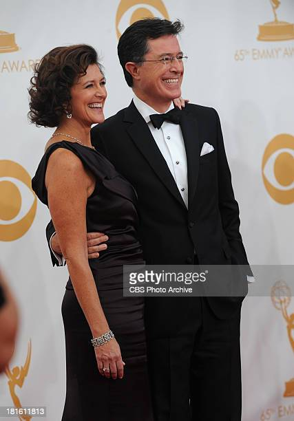 Stephen Colbert of The Colbert Report with his wife on the red carpet for the 65th Primetime Emmy Awards which will be broadcast live across the...