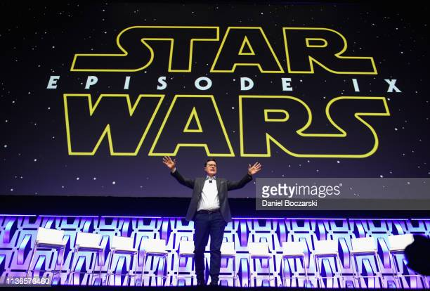 Stephen Colbert onstage during The Rise of Skywalker panel at the Star Wars Celebration at McCormick Place Convention Center on April 12 2019 in...