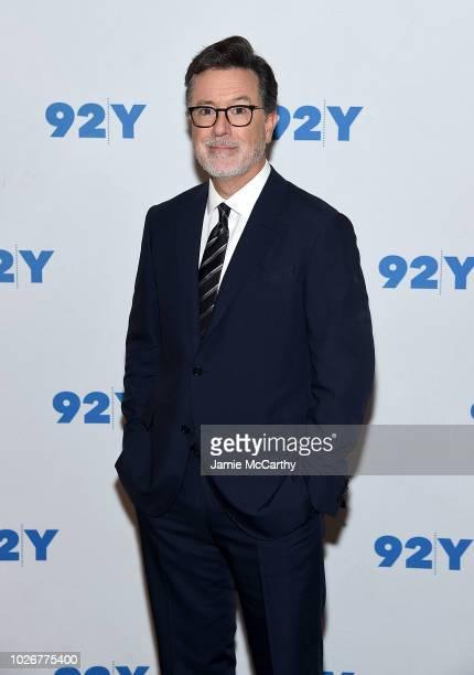 Stephen Colbert poses for photos at the 92nd Street Y Presents John Krasinski In Conversation With Stephen Colbert at 92nd Street Y on September 4...