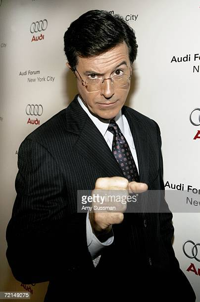 Stephen Colbert poses on the red carpet for the debut celebration for Audi's Sports Car the R8 held at the opening of the first United Statesbased...